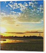 Shem Creek Sunset Wood Print