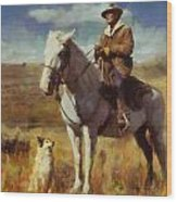 Shepherd And His Dog Wood Print