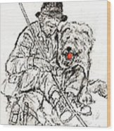 Shepherd With Dog Wood Print
