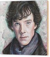 Sherlock Holmes Portrait Benedict Cumberbatch Wood Print by Olga Shvartsur