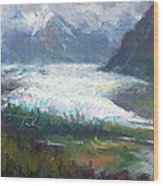 Shifting Light - Matanuska Glacier Wood Print