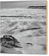 Shifting Sands On Ocracoke Outer Banks Bw Wood Print