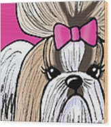 Shih Tzu Show Girl Wood Print by Kim Niles