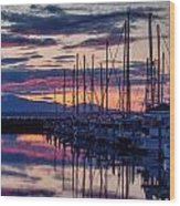 Shilshole Olympic Mountains Sunset Wood Print