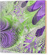 Shimmering Joy Abstract Digital Art Wood Print