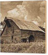 Shingle Barn Sepia 2 Wood Print