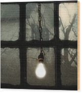 Lit Light Bulb Shines In Old Window Wood Print