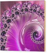 Shiny Pink Fractal Spiral Wood Print