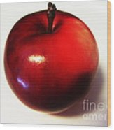 Shiny Red Apple Wood Print