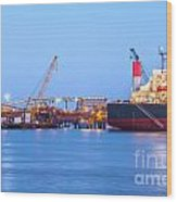 Ship And Port At Twilight Wood Print