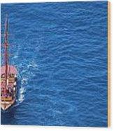 Ship By The Meditteranean Sea Wood Print