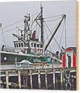 Ship Docked In Lunenburg-ns Wood Print