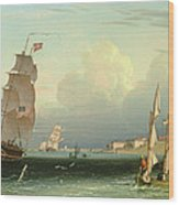 Ship Going Out, Fort Independence Wood Print