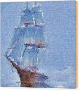 Ship In Fog Wood Print