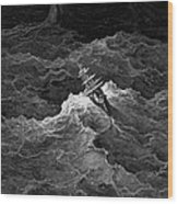 Ship In Stormy Sea Wood Print