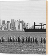 Ship In The Harbor 1990s Wood Print