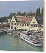 Ship In The Lindau Harbor Lake Constance Germany Wood Print