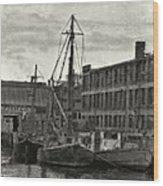 Ship Mooring Vintage Wood Print