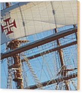 Ship Rigging Wood Print by Carlos Caetano