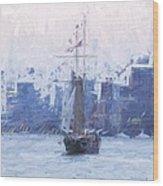 Ship Through The Haze Wood Print