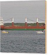 Ship Traffic At Casco Bay Wood Print