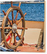 Ship Wheel Wood Print
