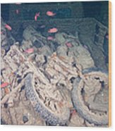 Motorbikes On A Ship Wreck Wood Print