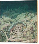Ship Wreck And Motorbikes Wood Print