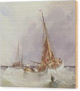 Shipping In The Solent 19th Century Wood Print