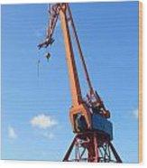 Shipping Industry Crane Wood Print
