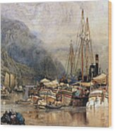 Shipping On The Hudson River Wood Print by Samuel Colman