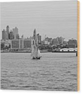 Ships And Boats In Black And White Wood Print