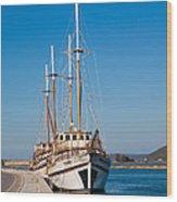 Ships At Lefkada Wood Print