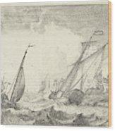 Ships At Sea, Ludolf Bakhuysen Wood Print