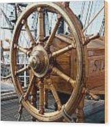 Ship's Helm Wood Print