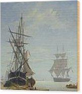 Ships In A Dutch Estuary Wood Print