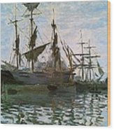 Ships In Harbor Wood Print