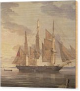 Ships In Harbor Signed And Dated Lower Right R Wood Print