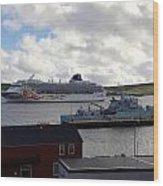 Ships In Lerwick Harbour Wood Print