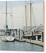 Ships In Newport Harbor Wood Print