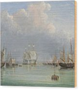 Ships Off Ryde Wood Print by Arthur Wellington Fowles
