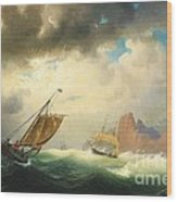 Ships On Stormy Ocean Wood Print