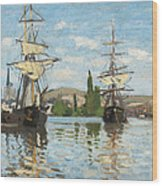 Ships Riding On The Seine At Rouen Wood Print by Claude Monet
