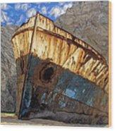 Shipwreck At Smugglers Cove Wood Print