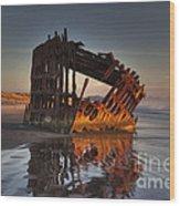 Shipwreck At Sunset Wood Print
