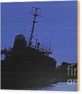 Shipwreck Of A Beached Diesel Tanker At Night Wood Print