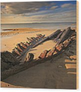 Shipwreck On Cape Cod Beach Wood Print by Dapixara Art