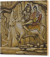 Shiva Parvati Ganesha Wood Print by Vrindavan Das
