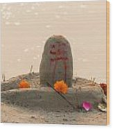 Shivling From Sand Wood Print