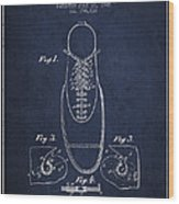 Shoe Eyelet Patent From 1905 - Navy Blue Wood Print